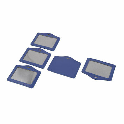 Office Staff Faux Leather Horizontal Style ID Badge Card Holder Blue 5pcs