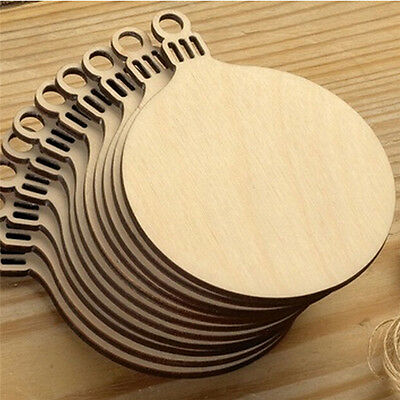 10X Wooden Round Bauble Hanging Christmas Tree Blank Decorations Tag Shapes HWW