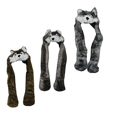 Snood Animal Wolf Hat Adult Size