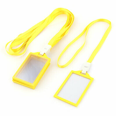 Staff Neck String Lanyard Vertical ID Card Holder Container Yellow 5pcs