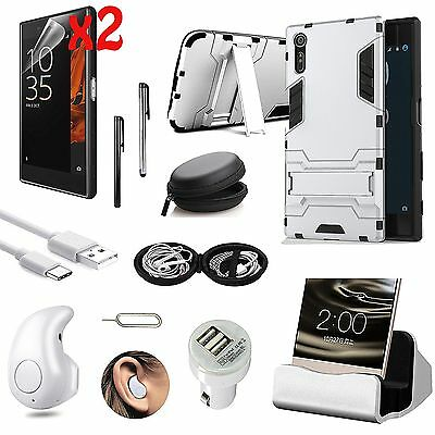 Case Cover+Dock Charger+Bluetooth Earphones Accessory Bundle For Sony Xperia XZ
