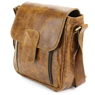Leather Shoulder Bag Handbag Ladies Men BROWN Real Messenger Satchel