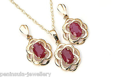 9ct Gold Ruby Celtic Pendant and Earring Set Gift Boxed Made in UK