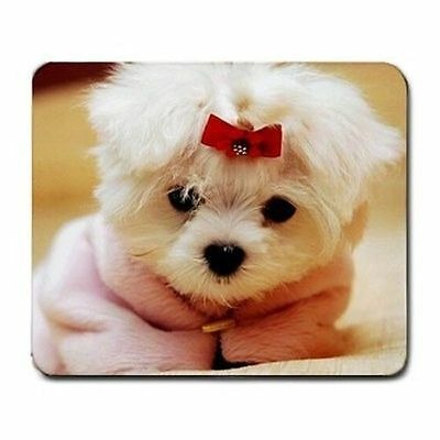 New Maltese Puppy Red Bow Mouse Pad Mats Mousepad Hot Gift