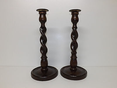 Large Vintage Pair Of Oak Barley Twist Candlesticks With Brass Sconces