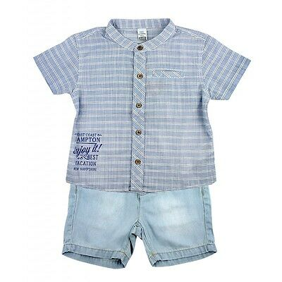 Baby Boys 2 Piece Shirt And Shorts Set - 100% Cotton Shirt And Short