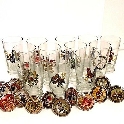 Pottery Barn Set of 12 Days of Christmas Glass Tumblers & Matching Napkin Rings