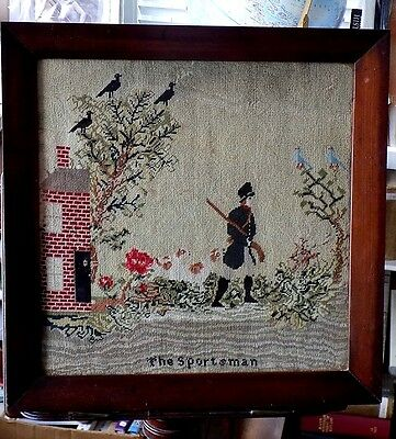 Victorian Antique Sampler The Sportsman Shooting Dogs Picture Fabric Needlework