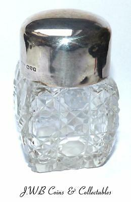Antique Silver Lidded Cut Glass Jar - Hallmarked Chester 1918 - Ref;t/m