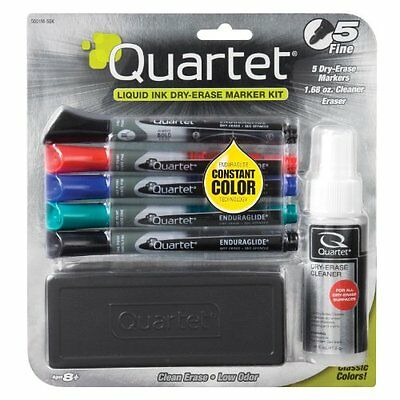 Quartet Dry Erase Markers Accessory Kit, Fine Tip, Endura, Assorted Colors, 5-Pk
