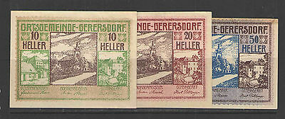 Austria NOTGELD GERERSDORF 15.SEPTEMBER.1920  Set of 3 UNC
