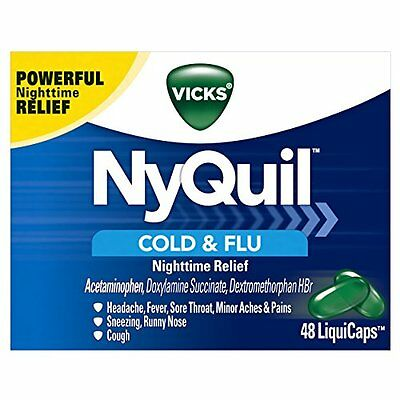 Vicks NyQuil Cold and Flu Nighttime Relief LiquiCaps, 48 Count Each
