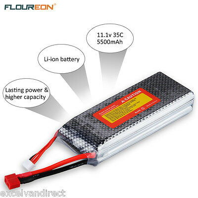 FLOUREON 3S 11.1V 20C 5500mAh Li-Po Battery Deans for RC Helicopter Airplane Car