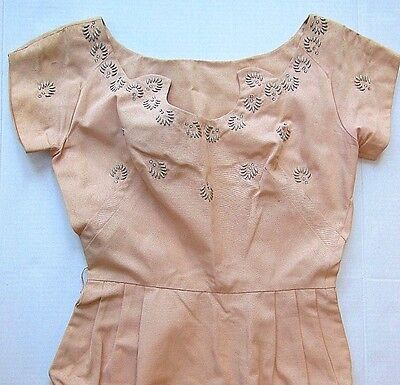 VTG--50's PINK COCKTAIL PARTY DRESS--Metal and Rhinestones Embellishment--Size S
