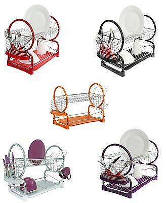 2 Tier Dish Drainer Rack Storage Drip Tray Dish Drying Draining Bowl Plate Stand