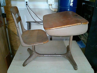 Vintage Child's School Desk & Chair Wood And Metal