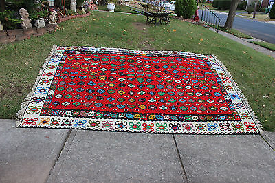 """Vintage Afghan Wool Hand Woven Area Rug-10'6""""X6'10""""-Red W/Colorful Patterns-#1"""