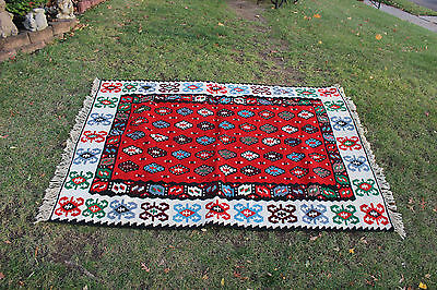 """Vintage Afghan Wool Hand Woven Area Rug-6'6""""X4'6""""-Red W/Colorful Patterns-#2"""