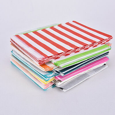Stripe Candy Sweet Paper Bag Party Favour Biscuit Popcorn Cake Wedding Xmas BBUS