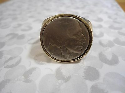 1 Goldplated Size 11 Indian Head Buffalo Nickel Ring