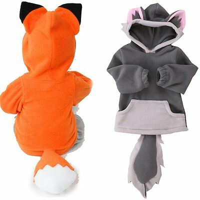 Kids Baby Boys Girls Cartoon Fox Hoodie Hooded Fleece Winter Coat Jacket Outwear