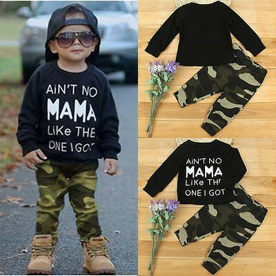 2pcs Newborn Toddler Kids Baby Boys Clothes T-shirt Tops+Camo Pants Outfits Sets