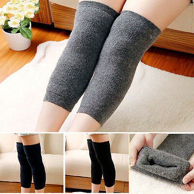 1Pair Unisex Winter Cashmere Wool Knee Pads Thigh High Socks Pad Leg Warmers