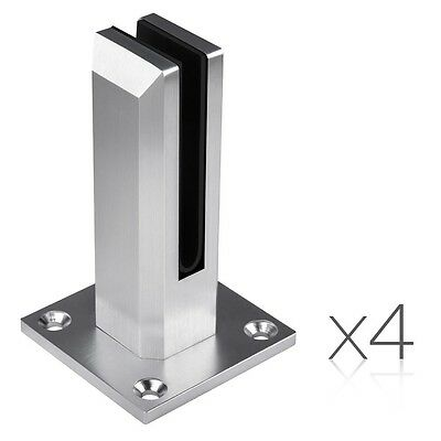 NEW 4x Elegant Frameless Glass Spigots Fencing Mount For Stairs Balconies, Decks