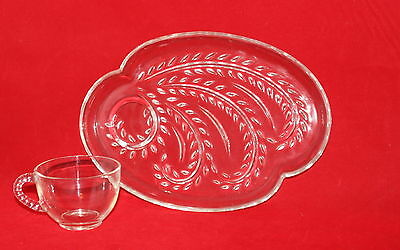 Vintage 1955 Federal Homestead Clear Cut Glass Snack Set 8 Piece From NIOB