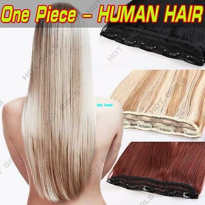 3/4Full Head 100% Clip In Remy Human Hair Extensions One Piece Blonde Real QU21