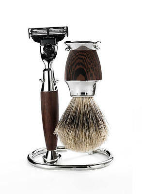 Mondial 1908 Italy Edition 3 Piece Mach3 Razor Shave Set Wenge Wood