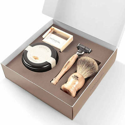 Mondial 1908 Imperiale-III Luxury Mens Gift Pack 4 Piece Razor Brush Set  Made i