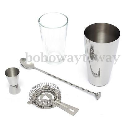6pcs COCKTAIL SHAKER SET Maker Mixer Martini Spirits Muddler Bar Strainer Jigger