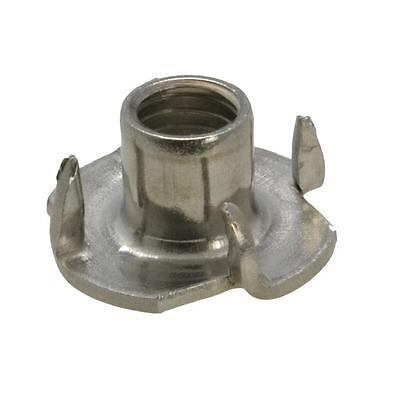 Pack Size 5 Stainless G304 Tee 4 Prong M6 (6mm) Metric Coarse Wood T Nut