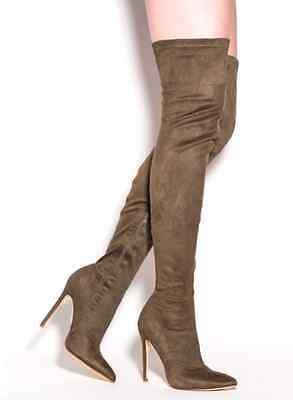 Olive Green Pointy Thigh High Heels Boot Stiletto Fashion New Hot Sandal Suede