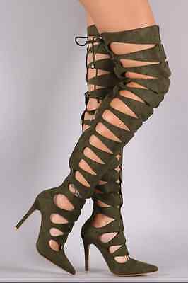 Olive Pointy Thigh High Heels Boot Stiletto Fashion New Hot Sandal Suede 6 6.5