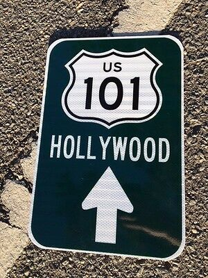 "Hollywood US 101 Road Sign 12""x18"" - UNUSED DOT specs - traffic route highway"