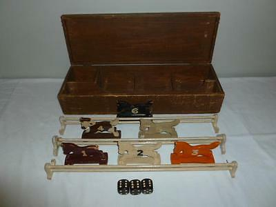 Antique Wooden Horse Steeplechase Gambling Game with Wooden Storage Box-Rare!-BL