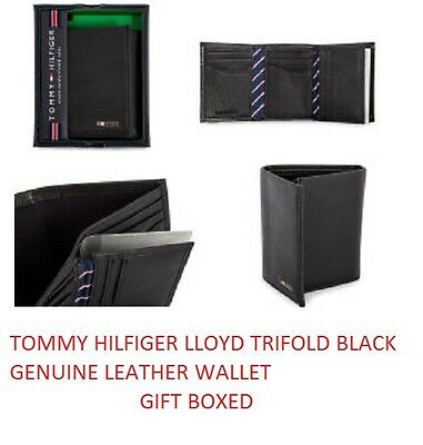 Mens Tommy Hilfiger Genuine Leather Lloyd Trifold Wallet Black Gift Boxed
