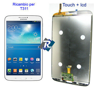 """Display Lcd E Touch Screen Completo Per Samsung Galaxy Tab 3 Sm-T311 8"""" Bianco"""