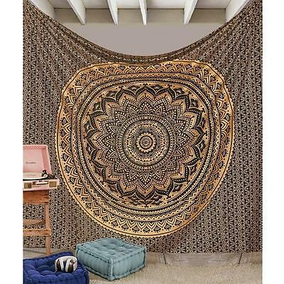 Indian Ombre Mandala Gold Tapestry Wall Hanging Throw Hippie Bedding Bedspread