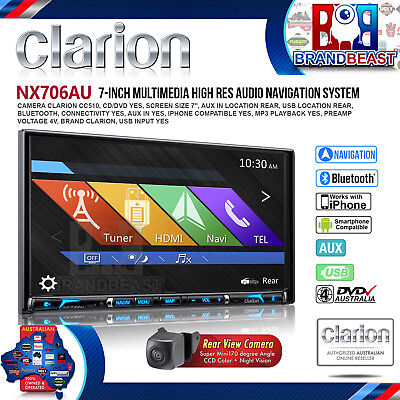 Clarion Nx706au 2-din 7' Inch Dvd Multimedia Station Nav Navigation Cc510 Camera