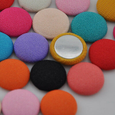 20/50/100 pcs 15mm round chiff fabric covered button with flat back jewelry CT09