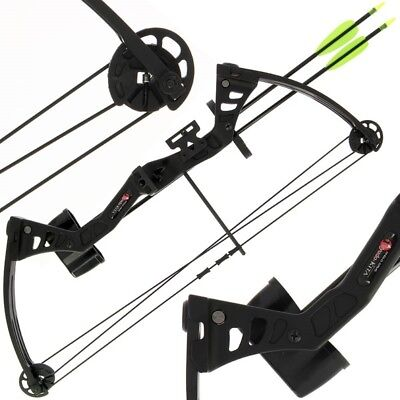 Starter Bow and Arrow 25lb Black Kita Compound With Quiver Arrows & Guards