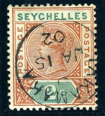 SEYCHELLES-1897-1900 2C Orange Brown & Green superb used SCARCE Sg 28 var
