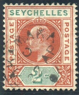 SEYCHELLES-1903 2c Chestnut & Green VFU with RPS cert Sg 46