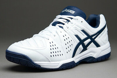 ASICS Gel Dedicate 4 Tennis Shoe Trainer - White + Blue - CLEARANCE