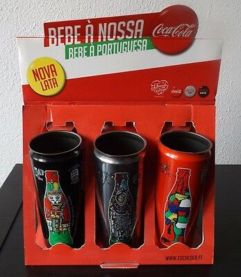 coca cola display with 3 can portugal only edition lot kit official new