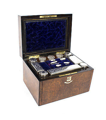 Antique Victorian Silver Plate Travelling Dressing Case C1870