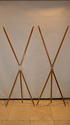 """Lot of 2 Bamboo X Banner Frames Stands 25.5"""" x 71.5"""" Trade Show Banner Stand"""